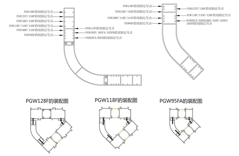 PGW平开窗系列.转角组合图